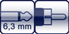 Klinke 2p. 6,3 mm<br>Cinch